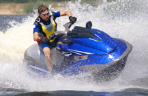 blue jet ski on the water